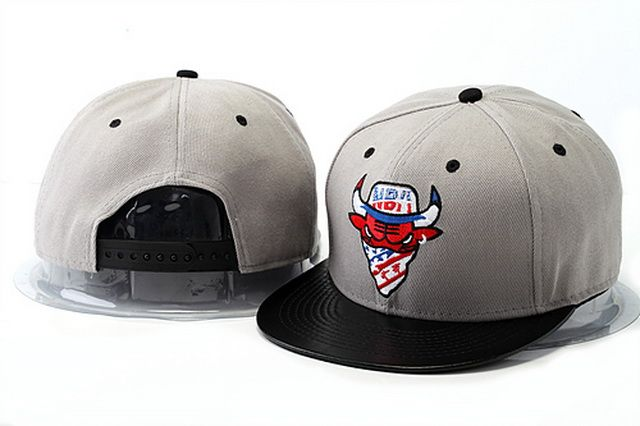 NBA Snapback Hats Chicago Bulls Hats Gray Brim Black 967