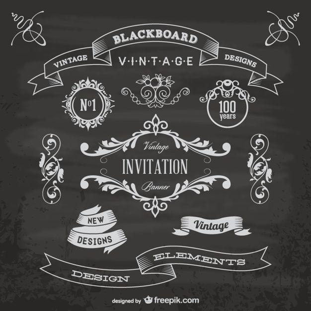黒板周年グラフィック要素 無料ベクター