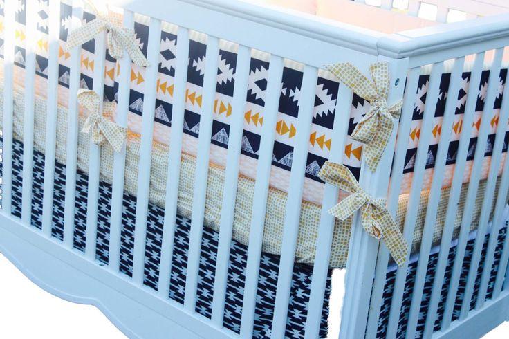 Baby Boy Southwestern Bedding - Aztec Baby Bedding - Custom Crib Bumper - Bumperless Baby Bedding - Navy and Gold Nursery - Crib Rail Guard by Kahzuli on Etsy https://www.etsy.com/listing/238348898/baby-boy-southwestern-bedding-aztec-baby