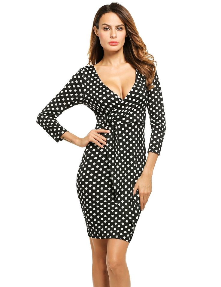 Women Fashion Sexy Slim V Neck 3/4 Sleeve Polka Dot Short Jersey Pencil Bodycon Wrap Going Out Dresses