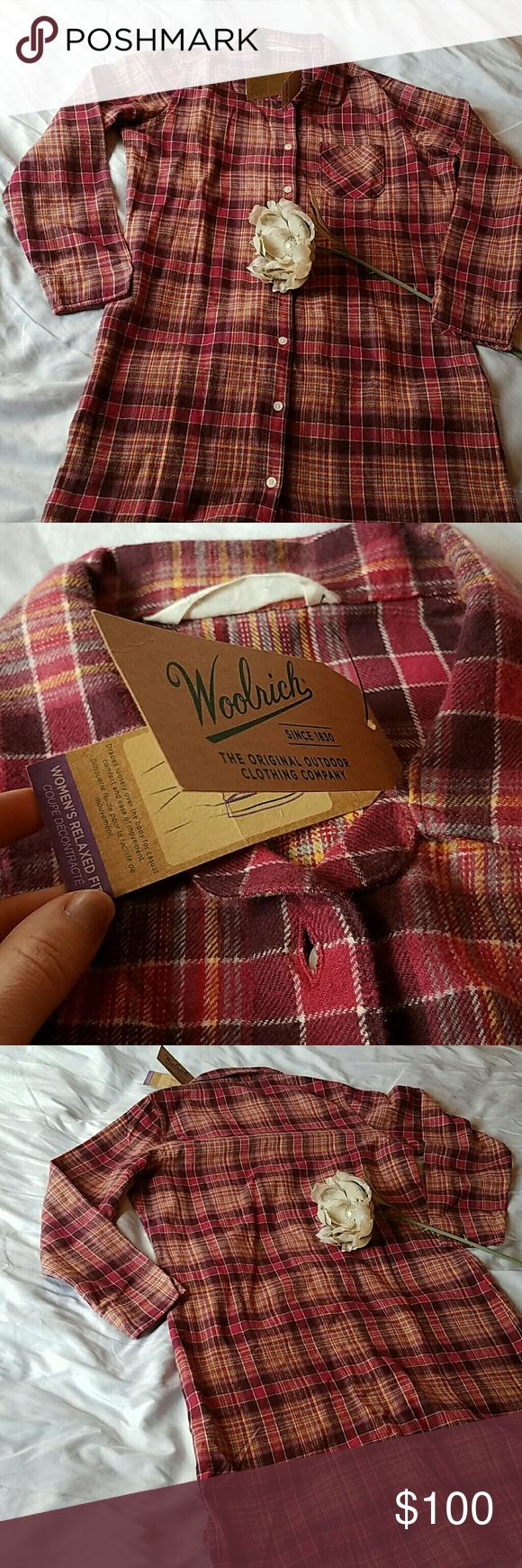 Woolrich Flannel Tunic Dress Brand new, soft flannel tunic dress in a lovely cranberry palette! The fabric holds more of a pink hue. Absolutely lovely! ? 4th picture is an accurate color example. Woolrich Dresses Midi
