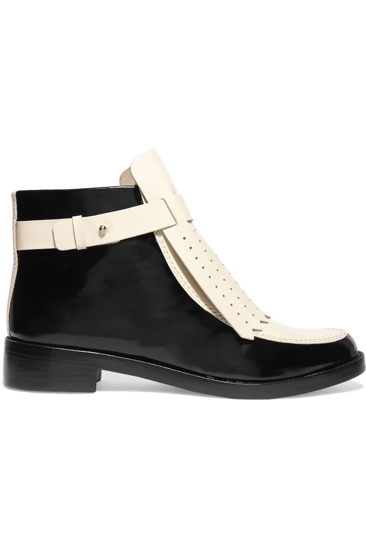 Shop on-sale TORY BURCH Hyde perforated glossed-leather ankle boots. Browse  other discount designer Mid Heel & more on The Most Fashionable Fashion  Outlet, ...