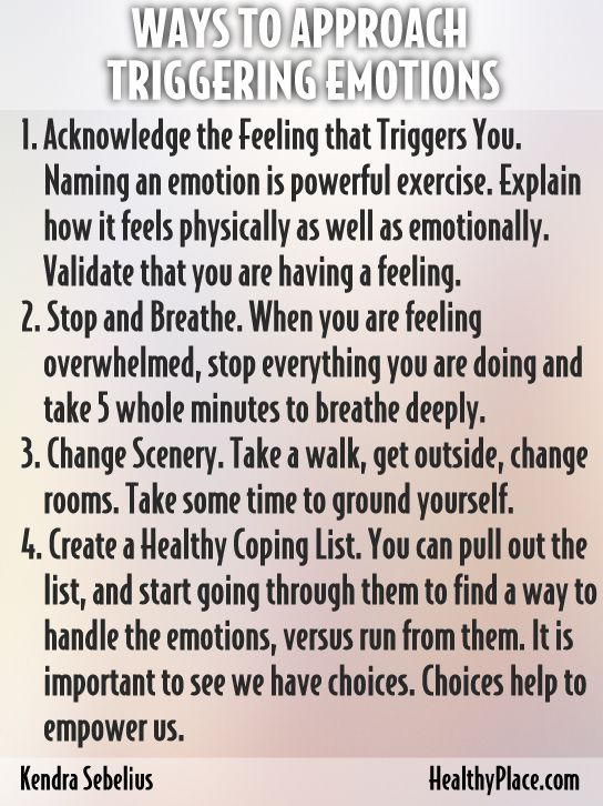 """""""When in recovery from an addiction, feelings and emotions can often be overwhelming. Here are 5 ways to approach triggering emotions in sobriety."""" www.HealthyPlace.com"""