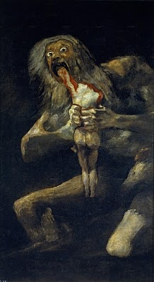 Francisco de Goya, Saturn devouring his son - from his Black Paintings, 1819-1823
