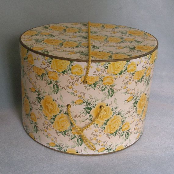 Vintage Hat Box Shabby Chic Yellow Rose Roses