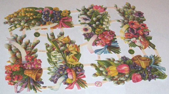 New German Victorian spring bright colored  Easter eggs daffodils flowers  scraps sheet EF 7369 paper crafts card making scrapbooking