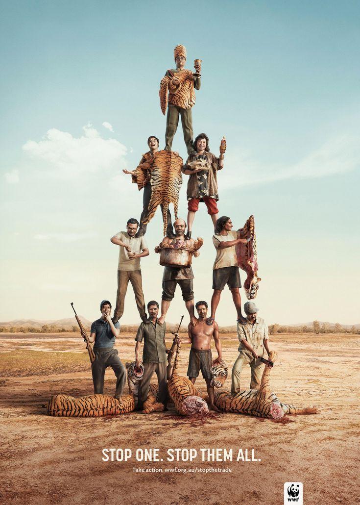 "Powerful Social Ads: •• WWF: Tiger •• ""Stop one. Stop them all."" • Take action. wwf.org/StopTheTrade • ad agency:  Leo Burnett, Sydney, Australia / Chief Creative Officer: Andy Dilallo / Concept Illustrator: John Henry Pajak / Illustrator: Surachai Puthikulangkura"