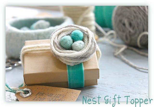 Nest of yarn gift topper - great for Easter or Mother's DayCrafts Ideas, Birds Nests, Gift Ideas, Yarns Gift, Parties Favors, Gift Wraps, Easter Gift, Gift Toppers, Baby Shower