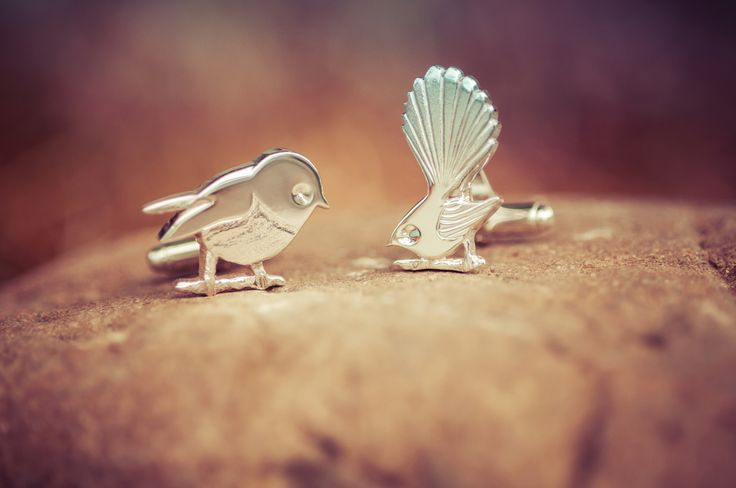 Wedding day cufflinks. A Tomtit and Fantail.