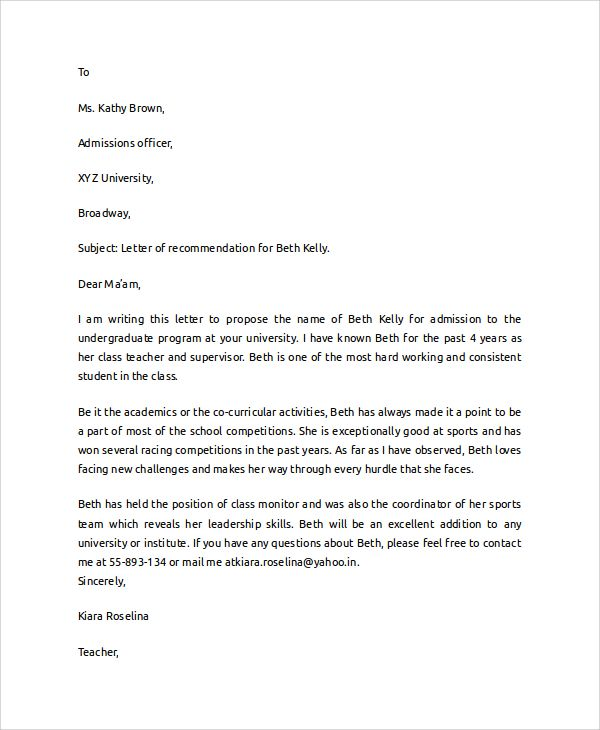 reference letter for student  simple recommendation letter