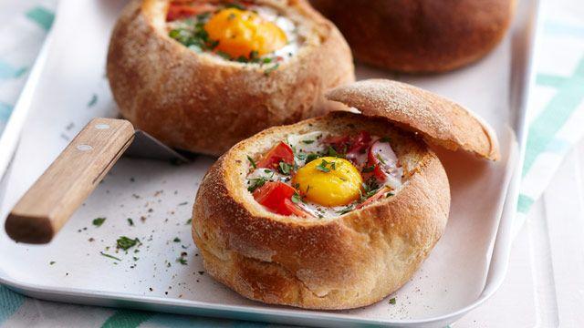 Baked bean, bacon & egg rolls recipe - 9kitchen