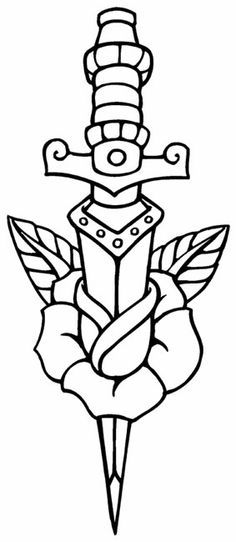 Traditional Dagger Tattoo Outline Sketch Coloring Page