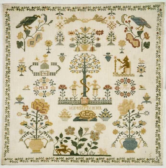 Merklap gewerkt in kruissteek in gekleurd zijde op crèmekleurig katoen met linneneffect, gemerkt MLB / 1781