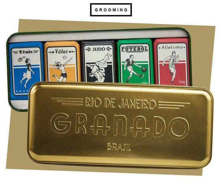 Kit Vintage Sports da Granado com embalagens dos esportes mais queridos pelos brasileiros em homenagem às Olimpíadas.