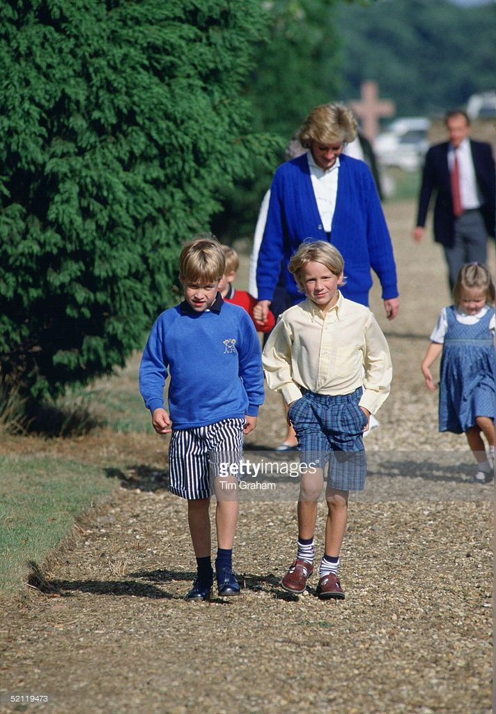 Prince William And His Cousin, Alexander Fellowes, With Diana, Princess Of Wales, Attending The Rehearsal For Viscount Althorp's Wedding. The Prince Is Casually Dressed In A Pair Of Shorts And A Sweatshirt.