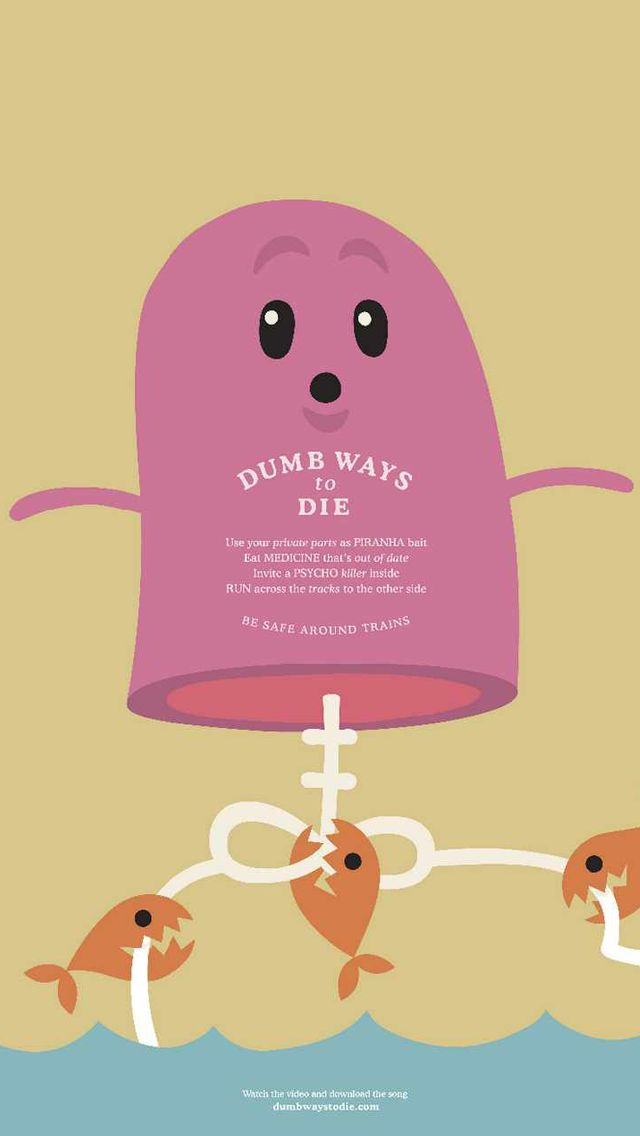 Dumb Ways to Die_Piranha - Funny Cartoon iPhone wallpapers @mobile9