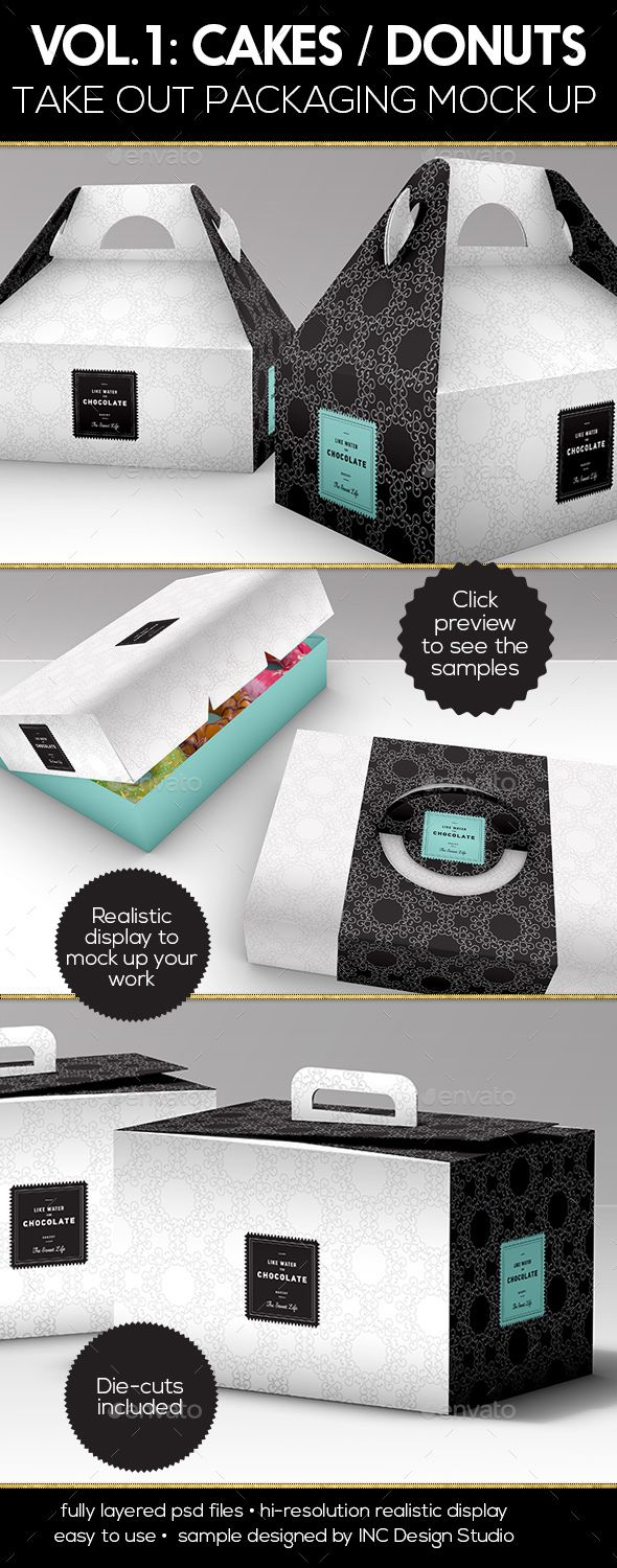 Food Pastry Boxes Vol.1: Cake | Donut | Pastry Take Out Packaging Mock Ups