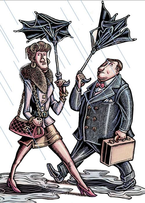 """""""Who's Responsible for Those $4 Umbrellas?"""" (New York Times: illustration by Lisa Haney) A couple of New Yorkers have bought those cheap umbrellas that always self-destruct in the wind on a rainy day. Time to get wet!"""