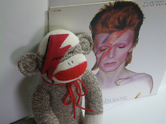 Ziggy Star Sock Monkey, David Bowie Inspired, Large, Brown. $38.00, via Etsy.