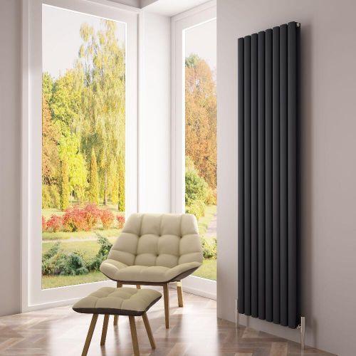 Smarten up your home's interior with the Milano Aruba Ayre anthracite vertical designer radiator