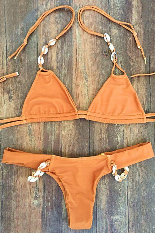 Seashell Embellished Bikini Set