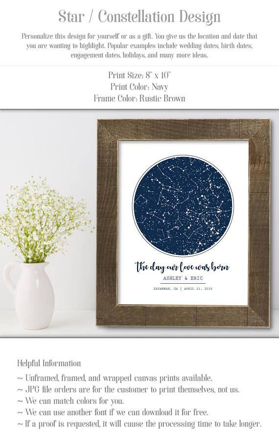 Night Sky Custom Star Map, Constellation Print, 2nd