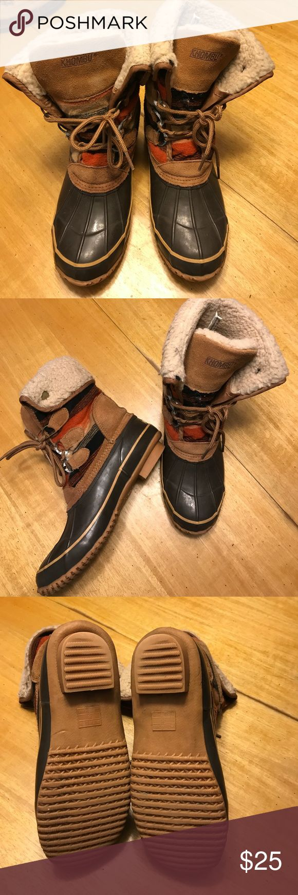 Khombu Boots Winter boots • worn one season • foot lining is missing in right boot (loose in left) • there is wear in the lacing and inside, but actual boot has lots of life left Khombu Shoes Winter & Rain Boots