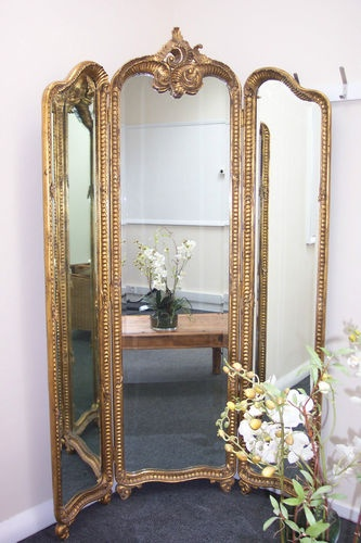 Outstanding-French-Antique-Style-Gilt-Frame-Free-Standing-Dresser-Mirror Attatch 3 standing mirrors with hinges