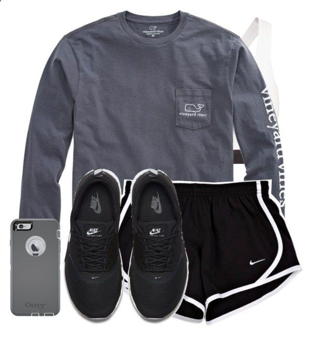 dreading the mile by reaw ❤ liked on Polyvore featuring NIKE, Vineyard Vines and OtterBox