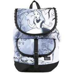 Disney Alice In Wonderland Slouch Backpack ($36) ❤ liked on Polyvore featuring bags, backpacks, blue, disney, slouch bag, blue backpack, strap backpack and disney backpack