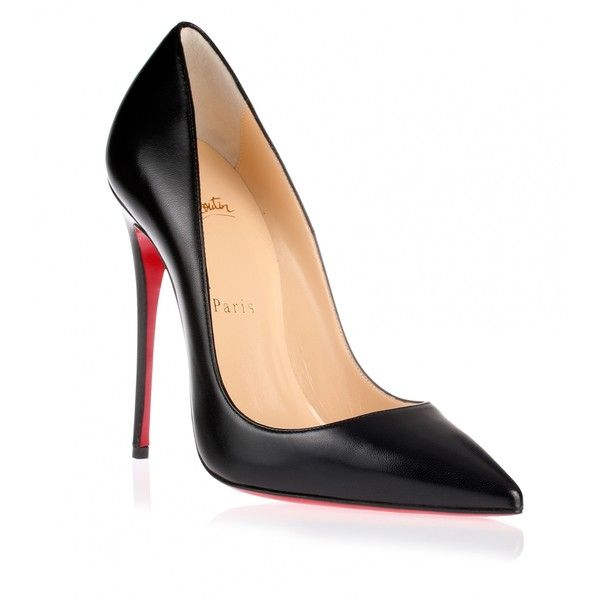 Christian Louboutin So Kate 120 black leather pump (€605) ❤ liked on Polyvore featuring shoes, pumps, heels, sapatos, escarpin, black heel pumps, black pumps, black stilettos, black high heel pumps and black pointy-toe pumps