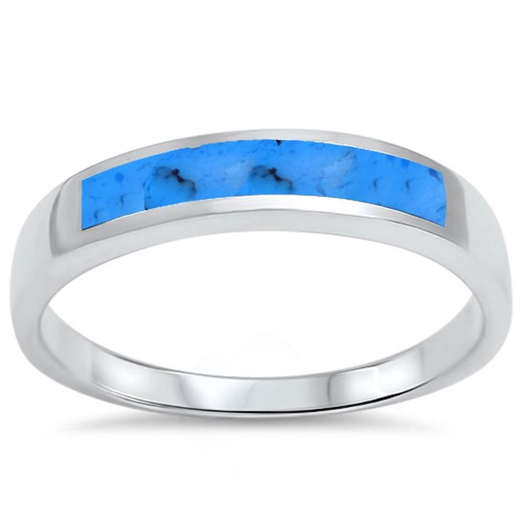 4mm Half Eternity Design Turquoise Inlay Solid 925 Sterling Silver Men Women Simple Unisex Wedding Engagement Anniversary Band Ring