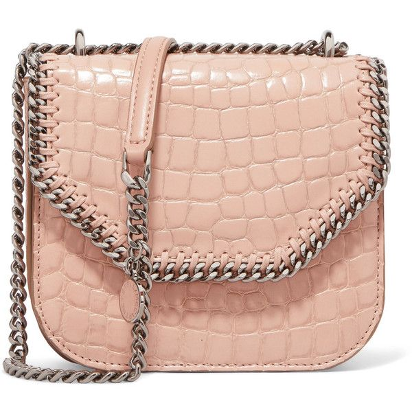 Stella McCartney The Falabella Box mini croc-effect faux leather... ($637) ❤ liked on Polyvore featuring bags, handbags, shoulder bags, blush, bolsas, croc handbags, mini handbags, faux leather purses, vegan handbags and chain shoulder bag