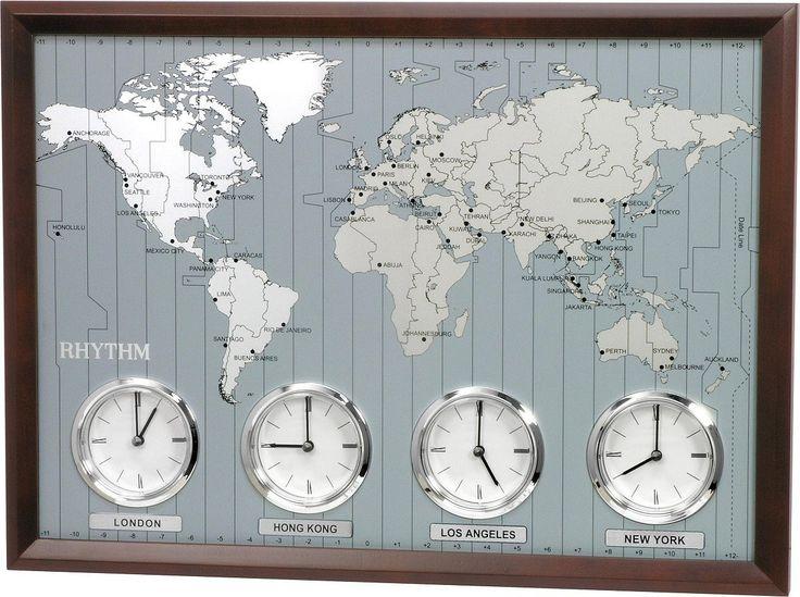 #Rhythm #Clocks Around The World II Clock Espresso CMW903UR06 | LampsUSA