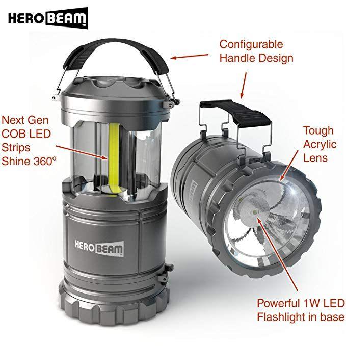 Amazon Com Herobeam 2 X Led Lantern V2 0 With Flashlight Latest Cob Technology Emits 300 Lumens Collap Lantern Flashlight Led Lantern Led Camping Lantern