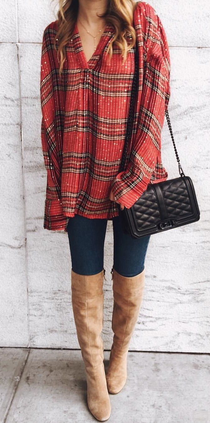 #winter #outfits red, white, and black button-up jacket
