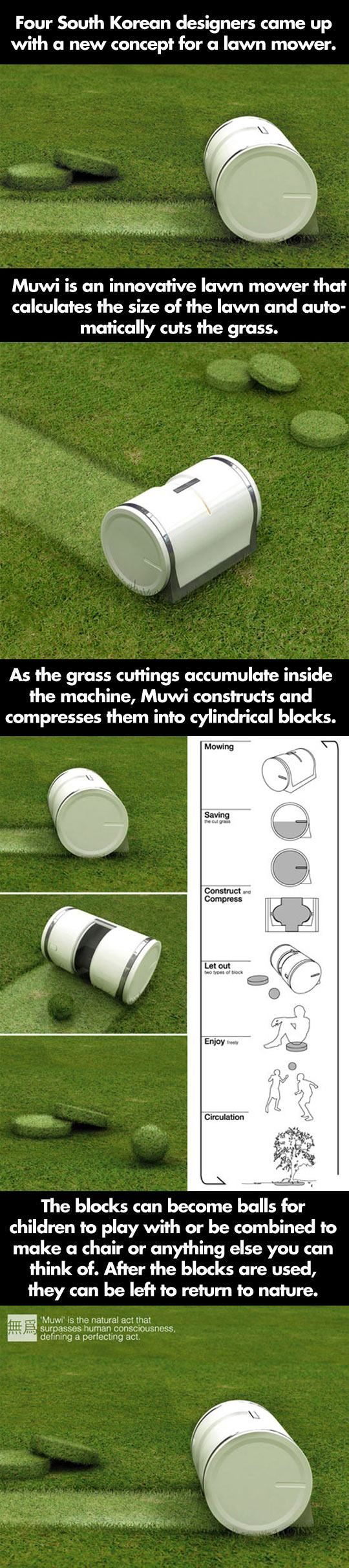 Automatic lawnmower that makes shapes with the clippings!