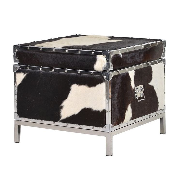 Black And White Cowhide Cargo Square Trunk