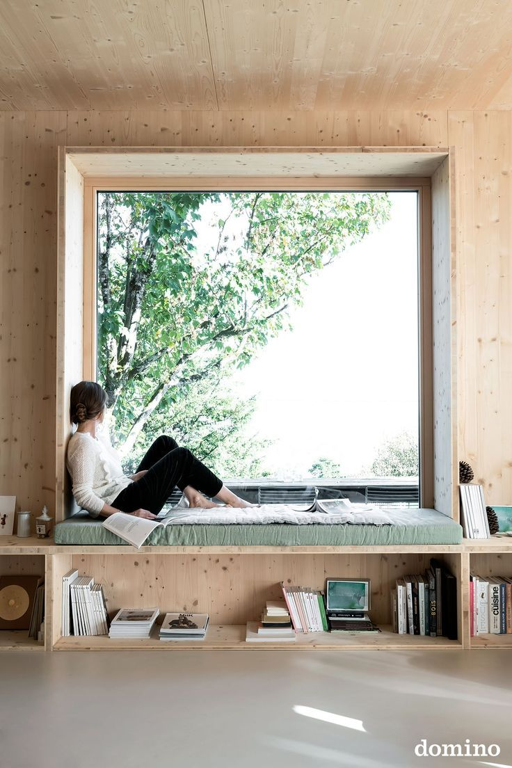 reading nook overlooking a large window
