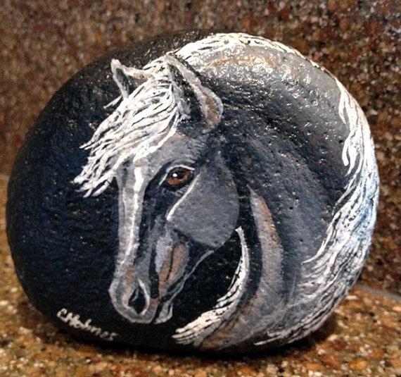 Gray Stallion Painted Rock via Etsy