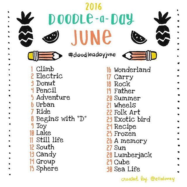 The Doodle a Day June list is here! Congrats to those of you who joined and completed May's challenge! | SnapWidget