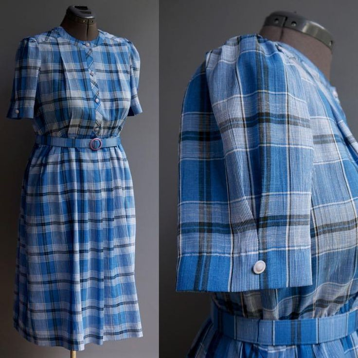 VTG 60s 70s Prim & Proper Blue Plaid Secretary Day Dress Pleated Skirt Belted L #MK #ShirtDress #Casual