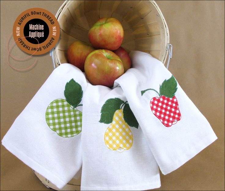 Gingham Fruit Machine Applique Kitchen Towels: Aurifil 80wt Thread | Sew4Home