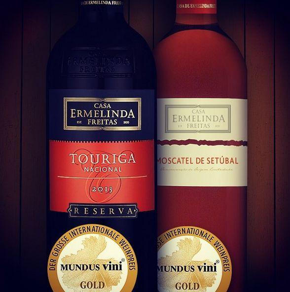 Goldmedaillen bei Mundus Vini 2016  Reserva Tinto- http://weinportugalshop.de/vinhos-terras-sado/2118-casa-ermelinda-freitas-touriga-nacional-2011-red-wine-5608527000951.html  Moscatel- http://weinportugalshop.de/moscatel-wine/3450-casa-ermelinda-freitas-muscat-wine-5608527000913.html