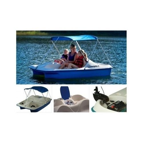Small-Paddle-Boat-Pedal-Canopy-Covered-5-Seat-Wheeler-Lake-Kids-Pontoon-Sun