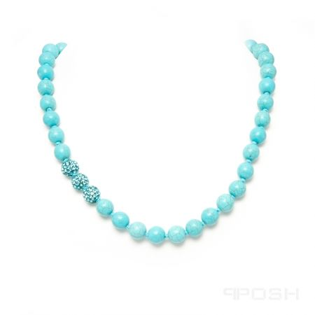 Global Wealth Trade Corporation -POSH Vibe - Indigo - Necklace-- Genuine magnesite necklace - Made with high strength rope to prevent breakage - Shamballa style necklace with traditional hand knotting-Click for more info.