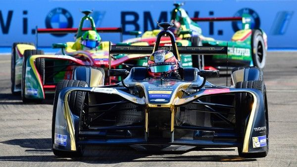 France's Jean-Eric Vergn (Techeetah) competes in the Berlin leg of the Formula E electric car Championships on June 11, 2017. / AFP PHOTO / John MACDOUGALL