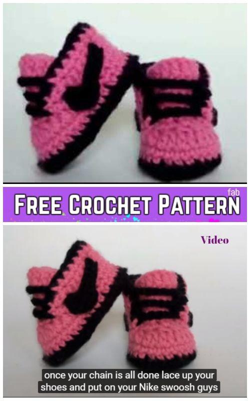Crochet Nike Style Baby Sneaker Booties Free Crochet Pattern - Video ...