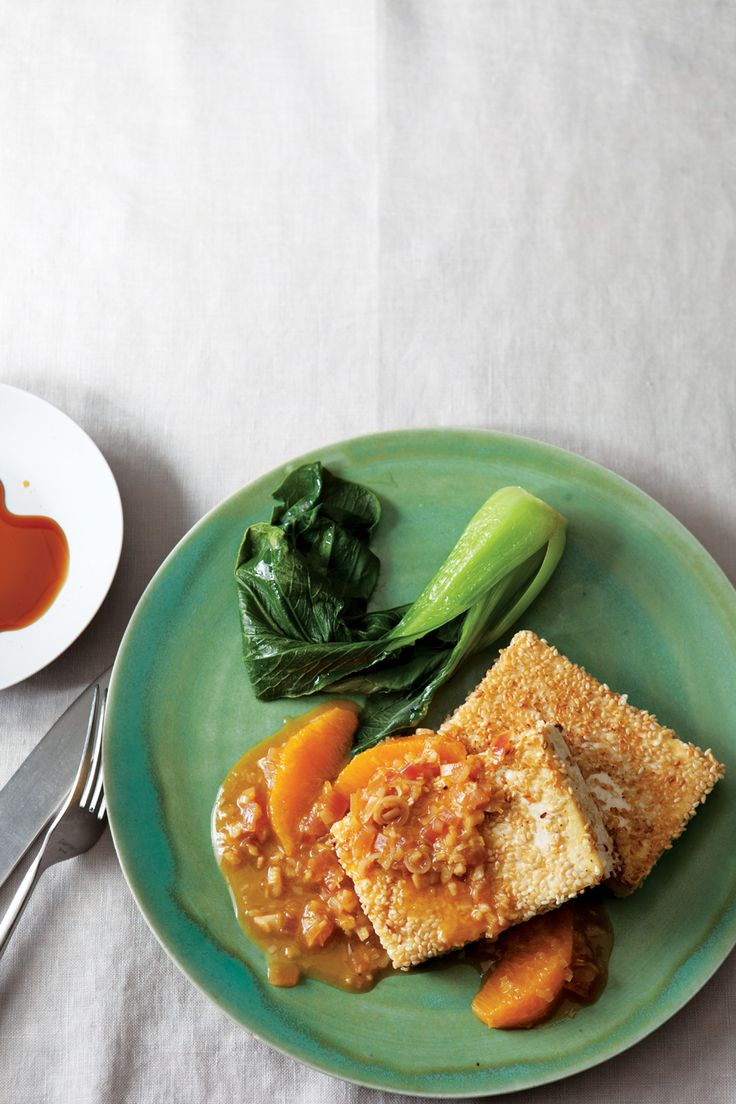 Sesame-Crusted Tofu with Lemongrass-Orange Reduction | Recipe | Green ...