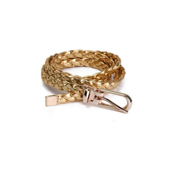 Thin Narrow Skinny Knitted Waist Belt Waistband Leather Belt ($4.12) ❤ liked on Polyvore featuring accessories, belts, gold, waist belt, thin belts, thin leather belt, leather belt and thin waist belt